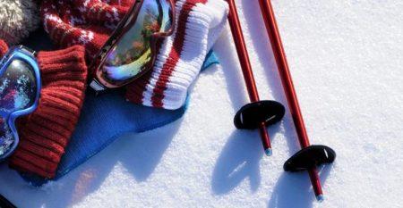 Ski equipment snow background